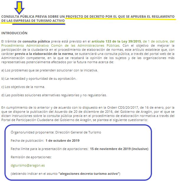 Proyecto de nuevo Reglamento de Empresas de Turismo Activo en ARAGÓN